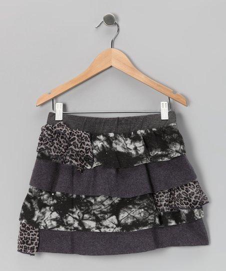 Charcoal Leopard Ruffle Skirt - Girls