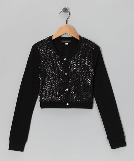 Black Sequin Cropped Cardigan - Girls