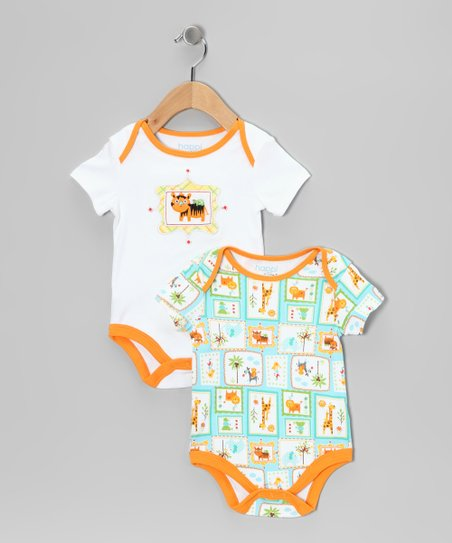 Orange & Blue Tiger Bodysuit Set