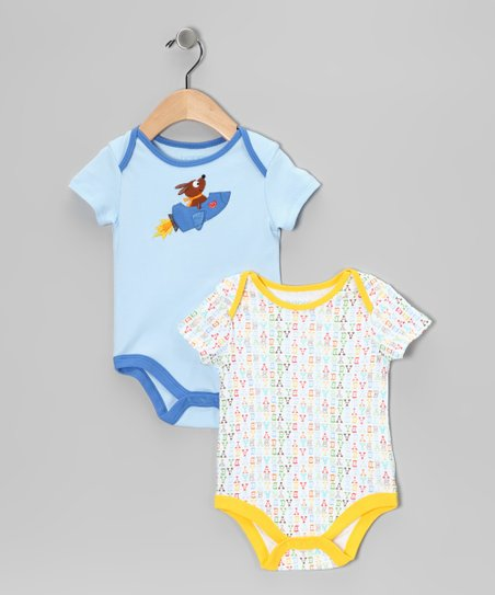 Blue & Yellow Rocket Dog Bodysuit Set