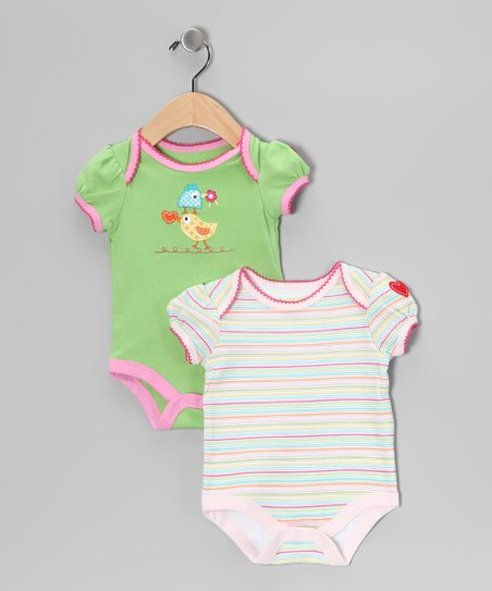 Green & Pink Stripe Bird Bodysuit Set