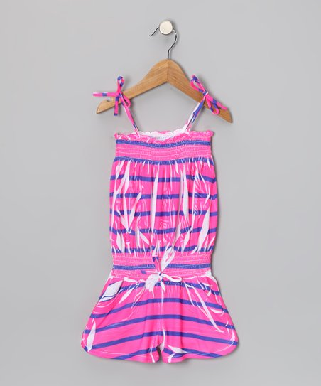 Pink & Purple Stripe Romper - Girls