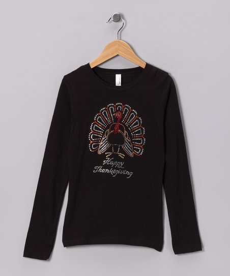Black 'Happy Thanksgiving' Turkey Tee - Girls
