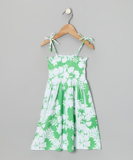 Lime Hawaiian Shirred Dress - Toddler & Girls