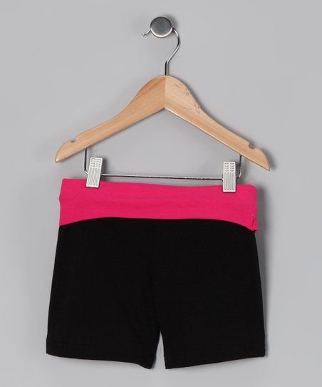 Black & Fuchsia Wide Band Shorts - Toddler & Girls