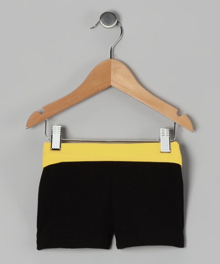 Yellow & Black Wide Band Shorts - Girls