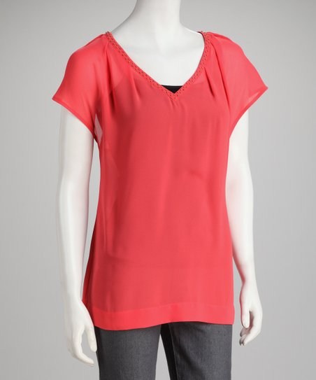 Harper Melon Bead Colette V-Neck Top
