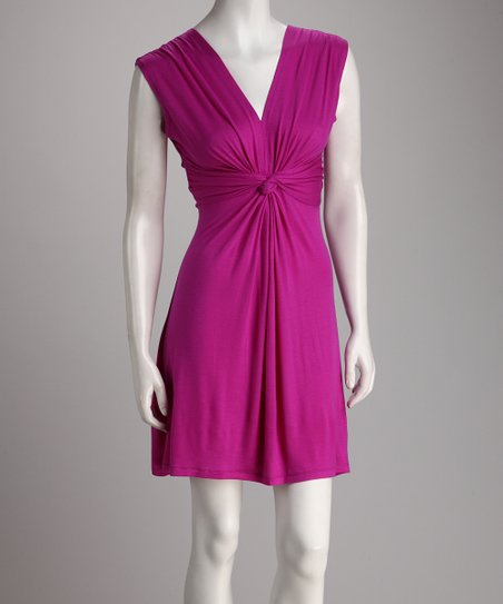Berry Gathered Knot Dress