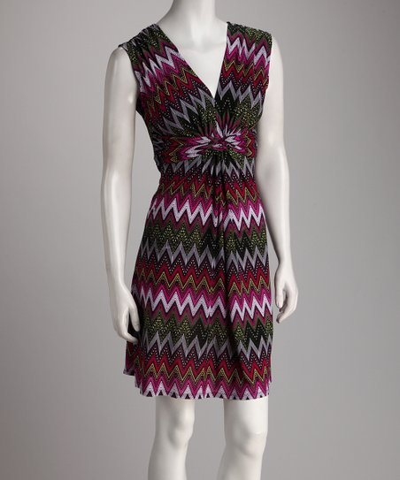 Purple Zigzag Gathered Knot Dress