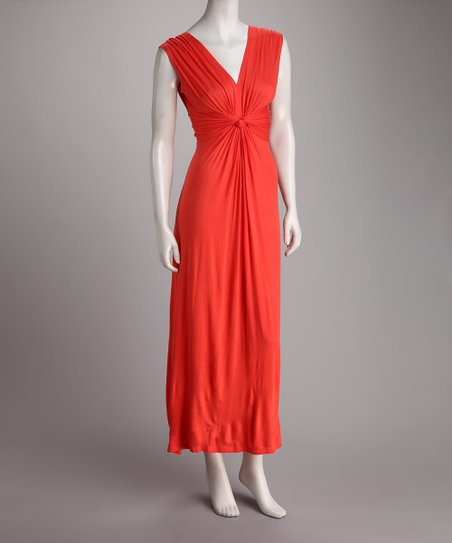 Coral Gathered Knot Maxi Dress