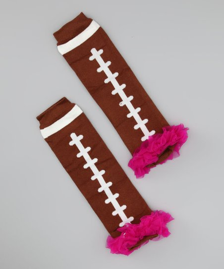 Brown & Fuchsia Football Leg Warmers