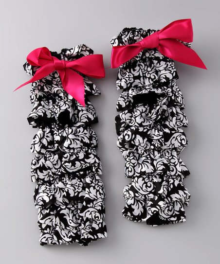 Hot Pink Damask Bow Ruffle Leg Warmers