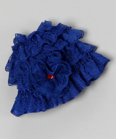 Royal Blue Lace Ruffle Beanie