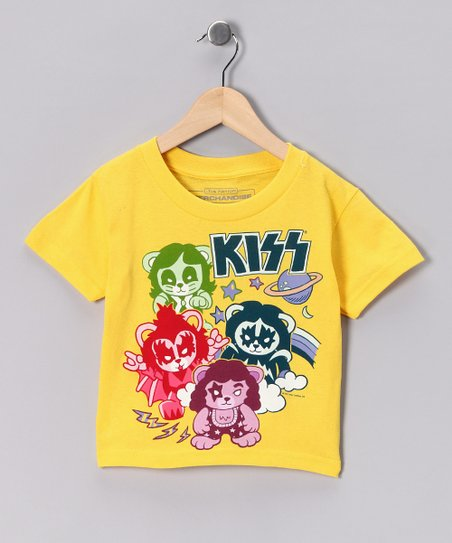 Yellow 'KISS' Bears Tee - Toddler & Kids
