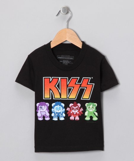 Black 'KISS' Lil Monsters Tee - Kids