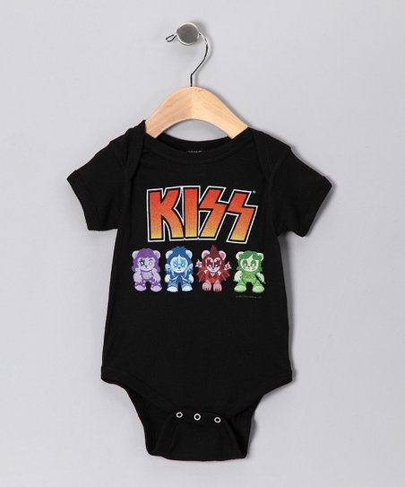 Black &#039;KISS&#039; Lil Monsters Bodysuit - Infant