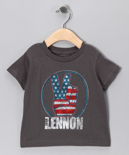 Charcoal 'Lennon' Peace Tee - Toddler & Kids