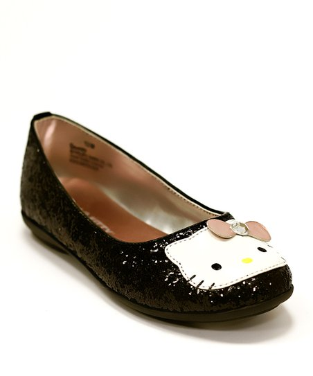 Black Hello Kitty Glitter Julie Ballet Flat