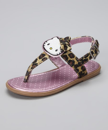Black &amp; Beige Leopard Hello Kitty Angie Sandal
