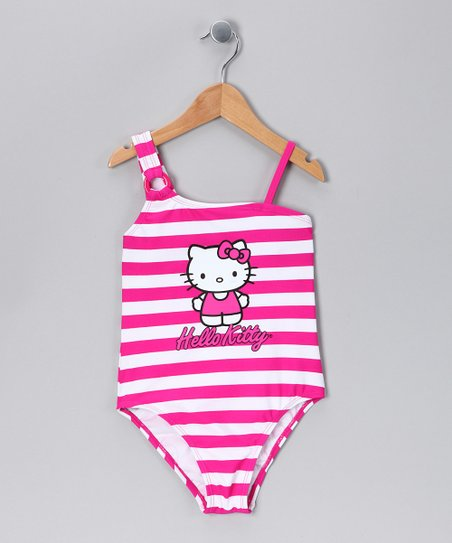 Fuchsia & White Stripe One-Piece - Girls