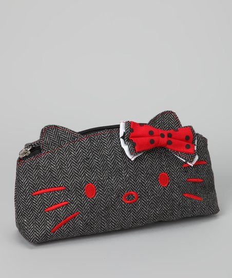 Hello Kitty Gray & Red Herringbone Cosmetic Case