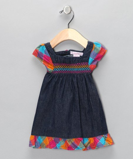 Denim Rainbow Angel-Sleeve Dress - Toddler