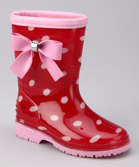 Red & Pink Poko Rain Boot - Kids