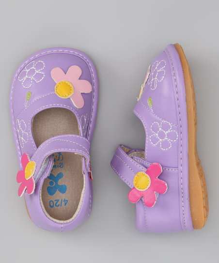 Purple & Pink Daisy Squeaker Mary Jane