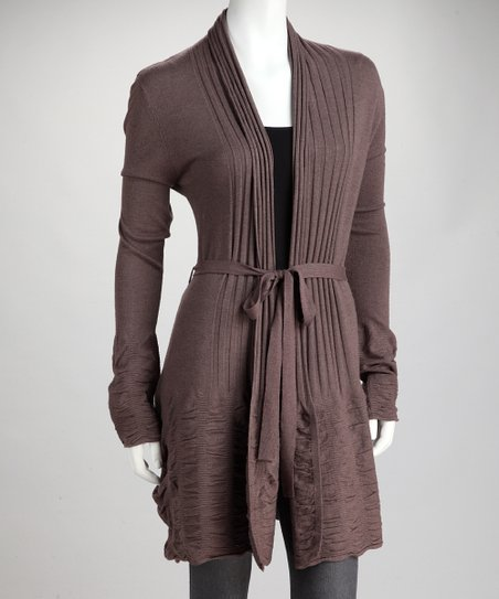 Brown Accordion-Knit Tie-Waist Cardigan