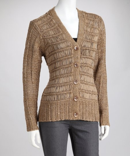 Khaki Stripe Knit Cardigan