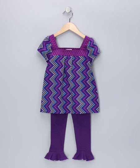 Brown & Purple Nicole Tunic & Leggings - Infant, Toddler & Girls