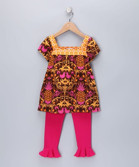 Brown & Orange Nicole Tunic & Leggings - Infant, Toddler & Girls