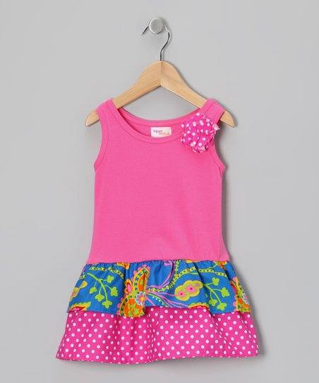 Pink & Blue Floral Paisley Amy Dress - Infant & Toddler
