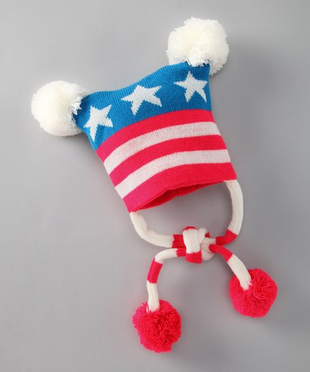 Red & Blue USA Earflap Beanie