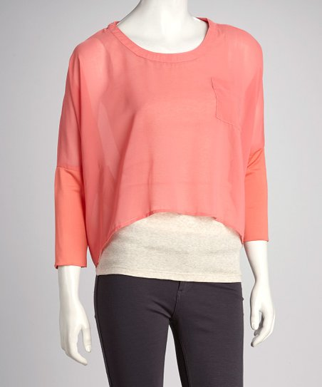 Coral Sheer Dolman Top