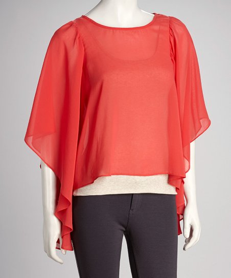 Coral Sheer Drape-Sleeve Top