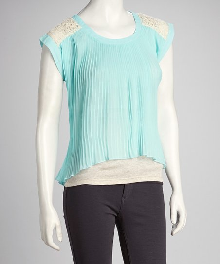Mint Lace Shoulder Accordion Top