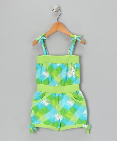 Lime Plaid Romper - Girls