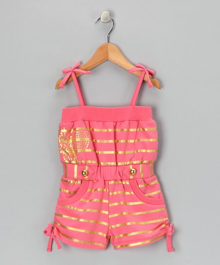 Coral Dream Stripe Romper - Girls