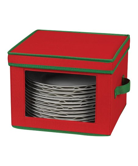 Household Red & Green Dinner Plate Storage Chest