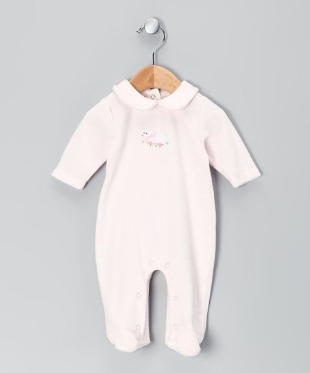 Pink Baby Lamb Velour Footie - Infant