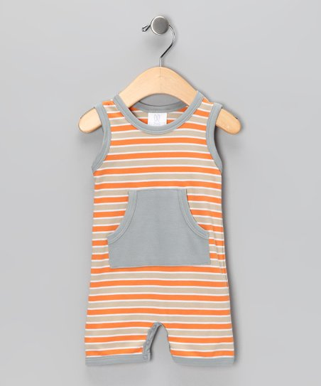 Orange Stripe Sleeveless Romper - Infant