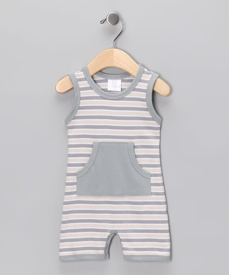 Gray Stripe Sleeveless Romper - Infant