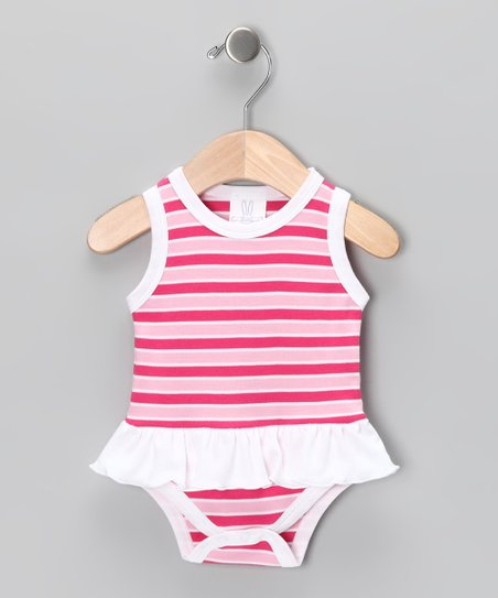 Pink Stripe Skirted Bodysuit - Infant