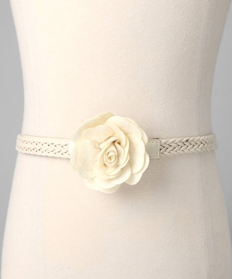 Ivory Flower Braided Belt