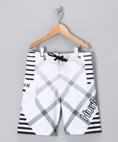 White Fragment Boardshorts - Toddler