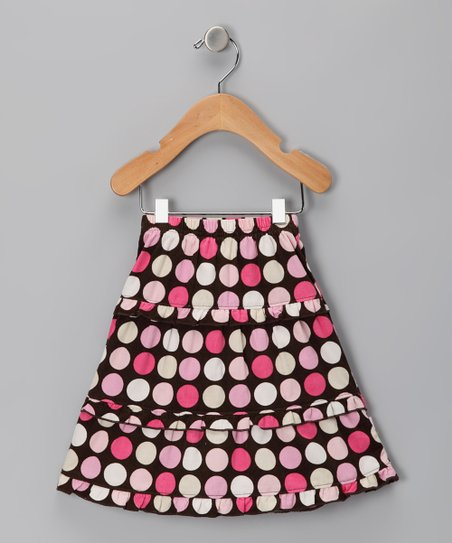 Brown Polka Dot Tiered Corduroy Skirt - Infant & Toddler