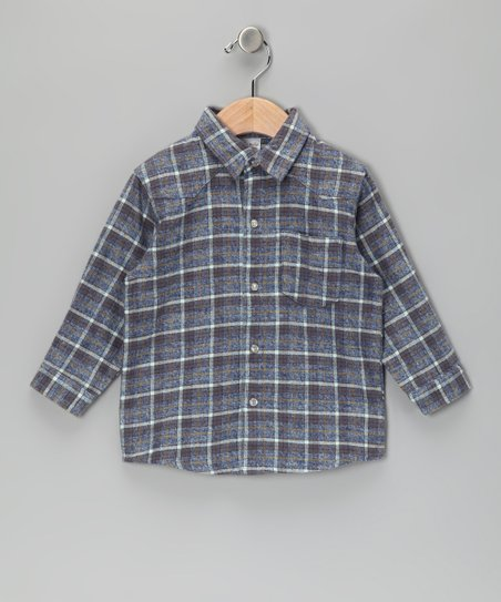 Blue & Gray Plaid Flannel Button-Up - Infant & Toddler