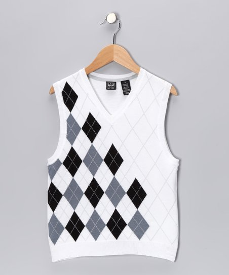 White & Black Argyle Sweater Vest - Boys