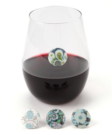 Blue Floral Wine Charm Set
